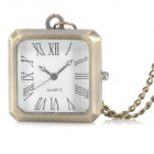 G5386B Retro Square Shaped Analogue Quartz Pocket Watch - Brass + White(1 x AG13)