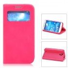 XUNDD Protective PU Leather + Plastic Case w/ Display Window for Samsung Galaxy S4 i9500 - Deep Pink