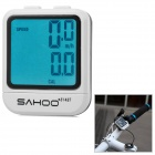 "SAHOO 81487 1.6"" LCD 20-Function Wired Bike Computer - White + Black (1 x CR2032)"