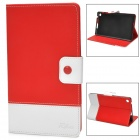 Protetive PU Leather Flip Open Case w/ Card Slots for Google Nexus 7 II - Red + White