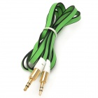 JJBY 3.5mm Male to Male Aux Car Audio Flat Cable - Green + Black