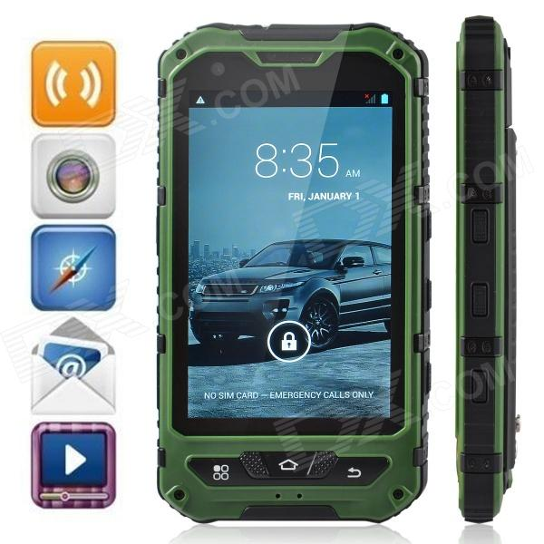 Somin A8 Three-Proofing Android 4.2.2 Phone w/ 4.0, GPS, Wi-Fi, FM, Camera - Green + Black мобильный телефон no 1 x men x1 f 1 x 1 x 5 mtk6582 1 8 gps 3g ip68