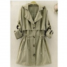 Polyester Peach Skin Slim Waist Draw-Cord Coat for Women - Khaki