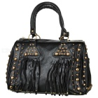 Rivet Studded Fashion PU Handbag w/ Shoulder Strap - Black