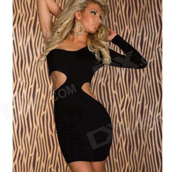 Sexy Single Shoulder Long Sleeve Dress - Black - DXDresses<br>Brand N/A Quantity 1 Color Black Material Polyeser Gender Women Suitable for Adults Style Fashion Size Free Size Chest Girth 86-102 cm Waist Girth 58-79 cm Hips Girth 90-104 cm Total Length 76 cm Suitable for Height 155-175 cm Features Single sleeve length: 54cm Packing List 1 x Dress<br>