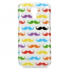 Colorful Moustache Pattern Protective Plastic Case for Samsung Galaxy Mini S4 i9190 - White