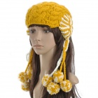 Women's Knitted Hat / Cap Ear Flaps w/ Ball Scarf Snood - Yellow + White