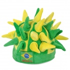 Hedgehog Style Flag of Brazil Pattern Flannel + Polyester Hat - Yellow + Green
