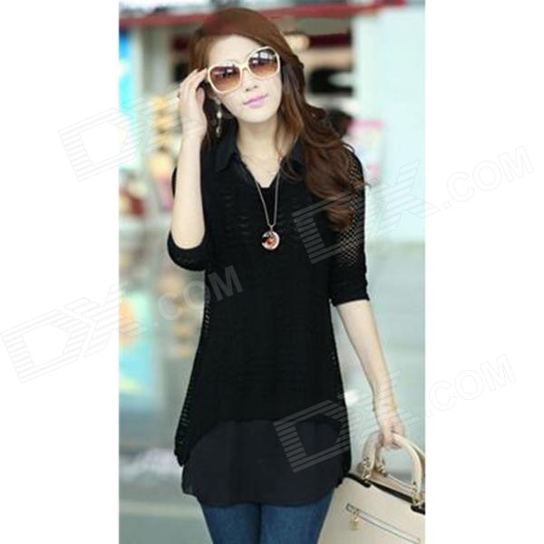 Fashion Inner Shirt + Outer Hollow-out Knitwear for Women - Back