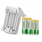 "BTY BTY-809A 3.7V ""3000mAh"" AA / ""1350mAh"" AAA Batteries + EU Plug Charger - Silvery White"