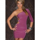 Sexy Mature Single-shoulder Dress - Deep Pink