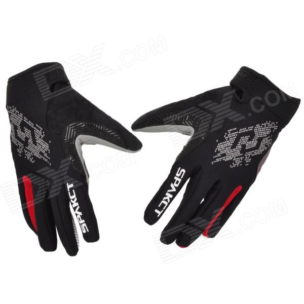 Spakct Outdoor Cycling Full-Finger Breathable Gloves - Red + Grey + Black (Size XL / Pair) spakct s13g10 bicycle cycling full finger gloves black white xl