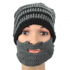 Warm-keeping Woolen Yarn Hat w/ Mouth Mask - Black + Grey