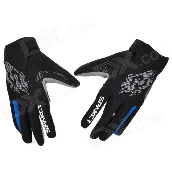 Spakct Outdoor Cycling Full-Finger Breathable Gloves - Blue + Grey + Black (Size XL / Pair) spakct s13g10 bicycle cycling full finger gloves black white xl
