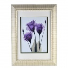 DIY Handmade Flower Decoration Picture w/ White Frame - White + Purple + Black