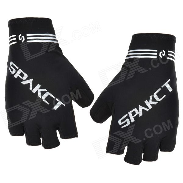 Spakct Outdoor Cycling Half-Finger Breathable Flexible Gloves - Black + Grey (Size L / Pair) spakct s13g01 polyamide elastane half finger gloves black blue xl pair