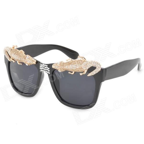 Fashion Cool Wall Lizard UV400 Protection Resin Lens Sunglasses - Black + Golden clip on uv400 protection resin lens attachment sunglasses small