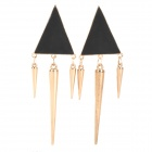 Fashion Punk Style Triangular Earrings - Black + Golden (2 PCS)