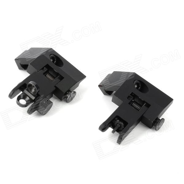 Aluminum Alloy Adjustable Angle Aiming Sights for 21mm Rail Gun - Black (2 PCS) 30mm caliber heighten aluminum alloy gun bracket mounts w hex wrench for m4a1 m40 black 2 pcs