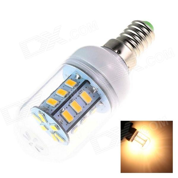 LeXing E14 4W 300lm 3500K 24-SMD 5730 LED Warm White Light Lamp Bulb - White + Silver (AC 220~240V) lexing lx qp 20 e14 6w 470lm 3500k 15 5730 smd led warm white light dimmable lamp ac 220 240v