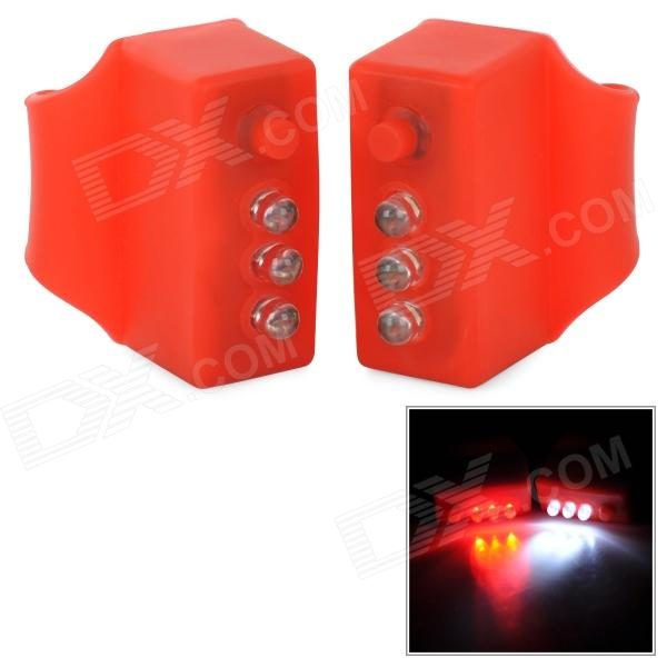 3-Mode 3-LED Red Light Bicycle Signal Lamps - Red (2 PCS / 4 x LR44) mr16 0 06w 5lm 630nm red light car clearance lamps silver red multi color 2 pcs