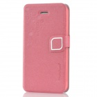 HELLO DEERE Stylish Flip-Open PU Leather Case w/ Stand for iPhone 4 / 4S - Deep Pink