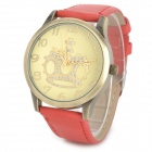 Crown PU Leather Band Analog Quartz Wrist Watch for Women - Red + Bronze