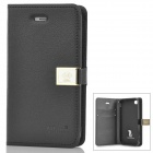 HELLO DEERE Ailun PU Leather Flip Open Case for Iphone 4 / 4S - Black