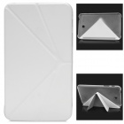 Protective V-folding Stand PU Leather Flip Open Case for Samsung P3200 - White