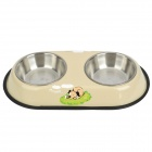 Doglemi Stainless Steel Double Bowls for Dog - Beige White