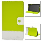 Protetive PU Leather Flip Open Case w/ Card Slots for Google Nexus 7 II - Yellow Green +  White