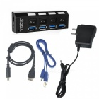 USB 3.0 4-Port hub w / US enchufes adaptador de corriente - negro