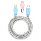 USB 2.0 Female to Male Cable w/ Printer Adapter - Silver + Blue + Pink (1.8m)