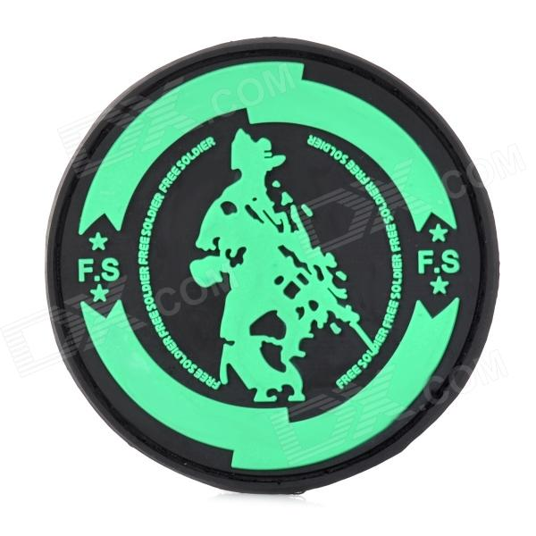 Free Soldier Stylish Decorative PVC Velcro Round Armband - Black + Green
