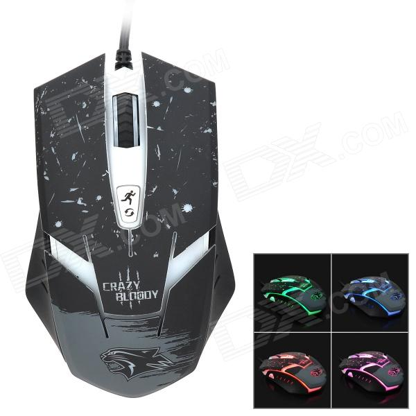 Dare-u Crazy Bloody USB Wired 500 / 1000 / 1500 / 2000dpi Optical Gaming Mouse - Black + White rajfoo usb 2 0 wired 1000 1600dpi gaming optical mouse blue