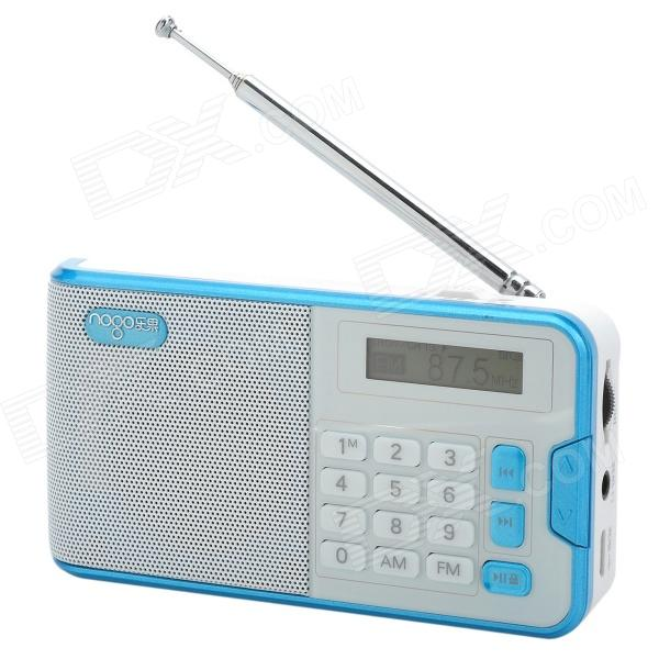 NOGO R808 Portable 1.2 LCD FM / AM Radio / MP3 Player w/ Micro USB / 3.5mm / TF - White + Blue creative simple small cement chandelier retro restaurant cafe bar industrial designer lighting