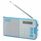 "NOGO R808 Portable 1.2"" LCD FM / AM Radio / MP3 Player w/ Micro USB / 3.5mm / TF - White + Blue"