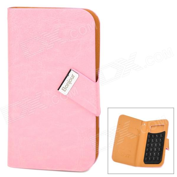 Universal Stylish Flip-open PU Leather Case w/ CID Window + Suction Cup for Cellphone - Pink