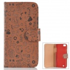 Protective Cartoon Pattern PU Leather Flip Open Case for ZOPO C2/ ZP980 - Coffee
