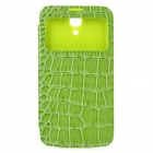 Alligator Pattern Protective Flip-open PU Leather Case for Samsung i9200 - Green