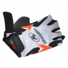 NUCKILY NS3555 Outdoor Mountaineer Half-Finger Gloves - Black + White + Orange (Size L / Pair)