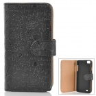 Protective Cartoon Pattern PU Leather Flip Open Case for ZOPO C2/ ZP980 - Black