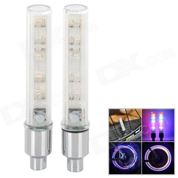YX-FG192 Decorative Bicycle 5-LED RGB Wheel Valve Lights - Silver + White (2 PCS / 3 x 389A)