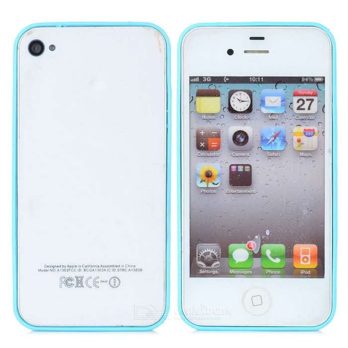 Ultrathin Protective PC + TPU Bumper Frame for Iphone 4 / 4S - Blue + Transparent
