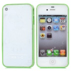 Ultra-Slim Stylish PC + TPU Frame Bumper Case for Iphone 4 / 4S - Green + Transparent