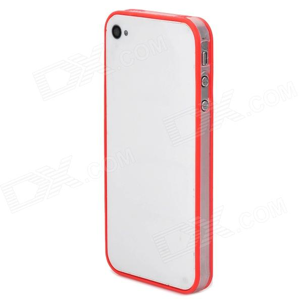 Ultrathin Protective PC + TPU Bumper Frame for Iphone 4 / 4S - Red + Transparent