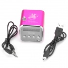 "TD-V26 Portable Mini 1.0"" LCD Speaker w/ MP3 / FM Radio - Deep Pink + Black"