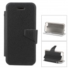 Fashionable Flip-open PU Leather Case w/ Holder + Card Slot for iPhone 5c - Black