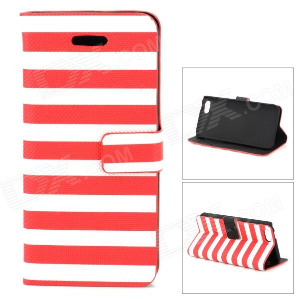 купить Stylish Strip Pattern Flip-open PU Leather Case w/ Holder + Card Slot for Iphone 5C - Red + White недорого