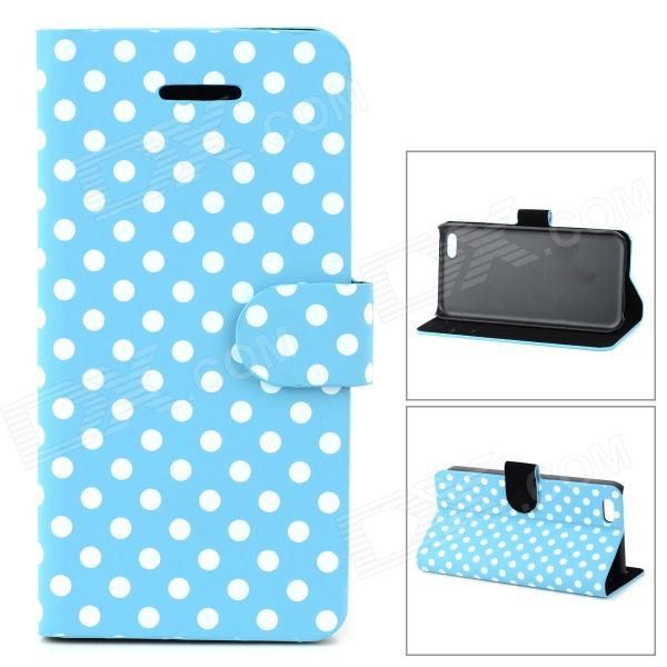 купить Stylish Polka Dot Pattern Flip-open PU Case w/ Holder + Card Slot for Iphone 5C - Blue + White недорого